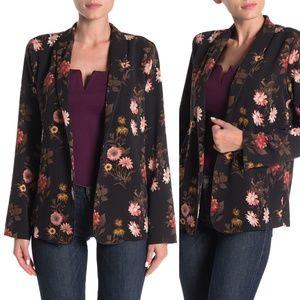 Bobeau Floral Open Woven Blazer Cover Jacket